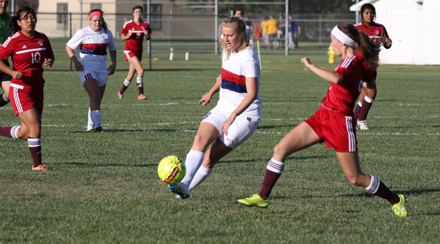 Sheena Nichol had a goal and three assists to lead the Blue Dragon Women's Soccer team to an 8-0 victory over Dodge City on Wednesday in Dodge City. (Joel Powers/Blue Dragon Sports Information)