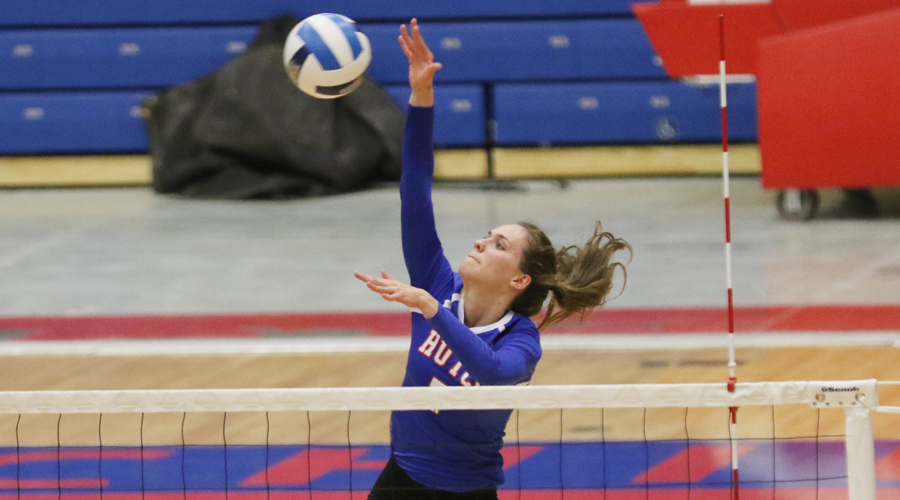 Page Hiebert had a career-high 18 kills against NMMI on Saturday, but the Blue Dragons split matches to close out the Bronco Invitational in Roswell, NM. (Allie Schweizer/HCC Sports Information)