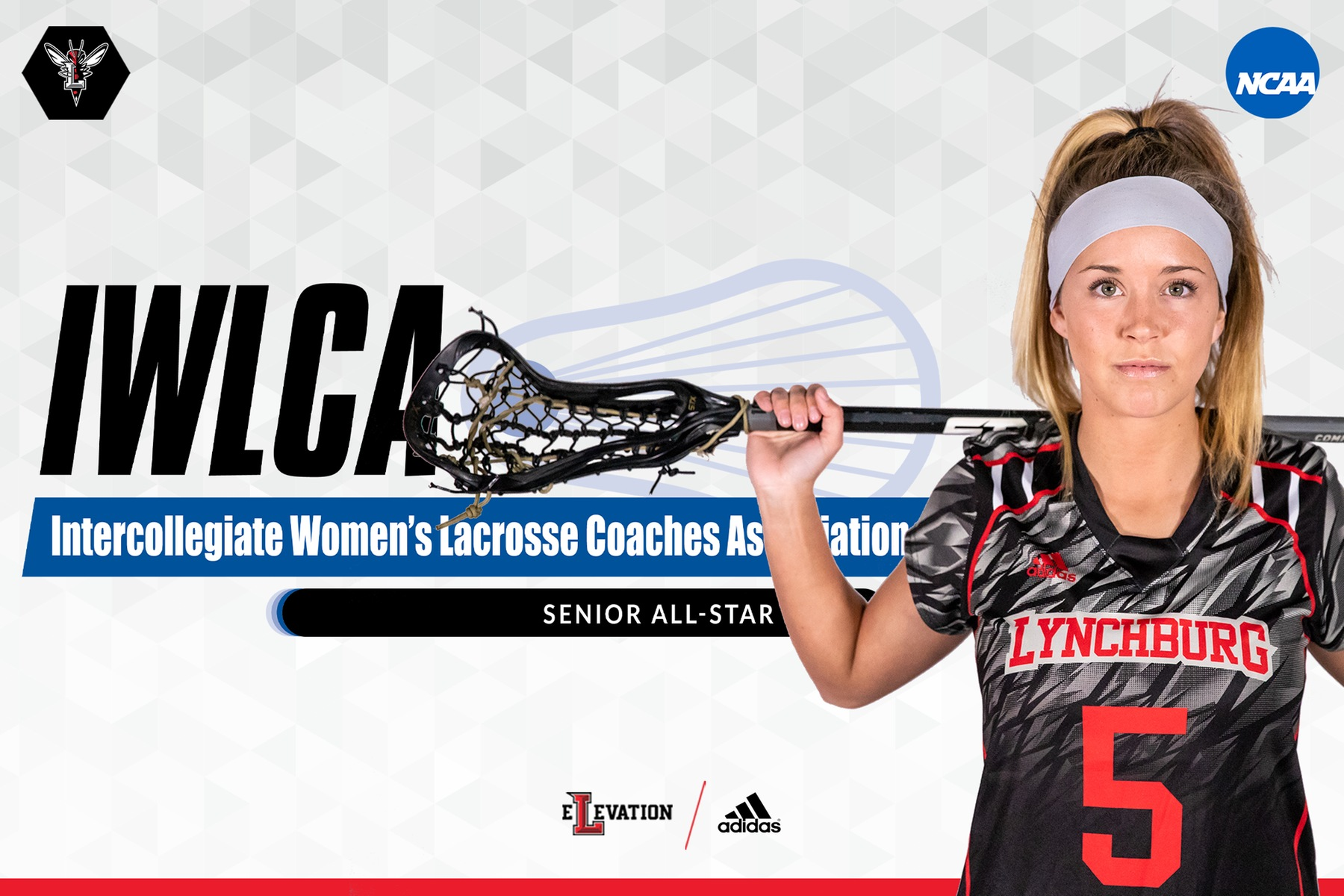 Cutout image of Allie O'Leary in uniform on white background with IWLCA logo