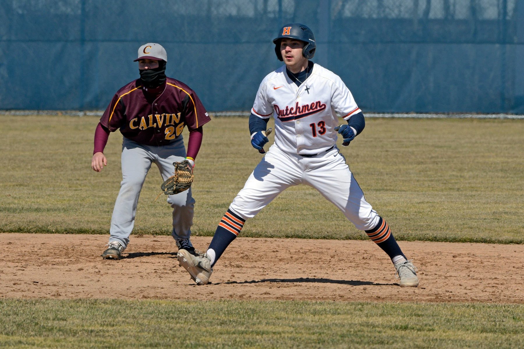 Nick Lepore gets ready to run at second base