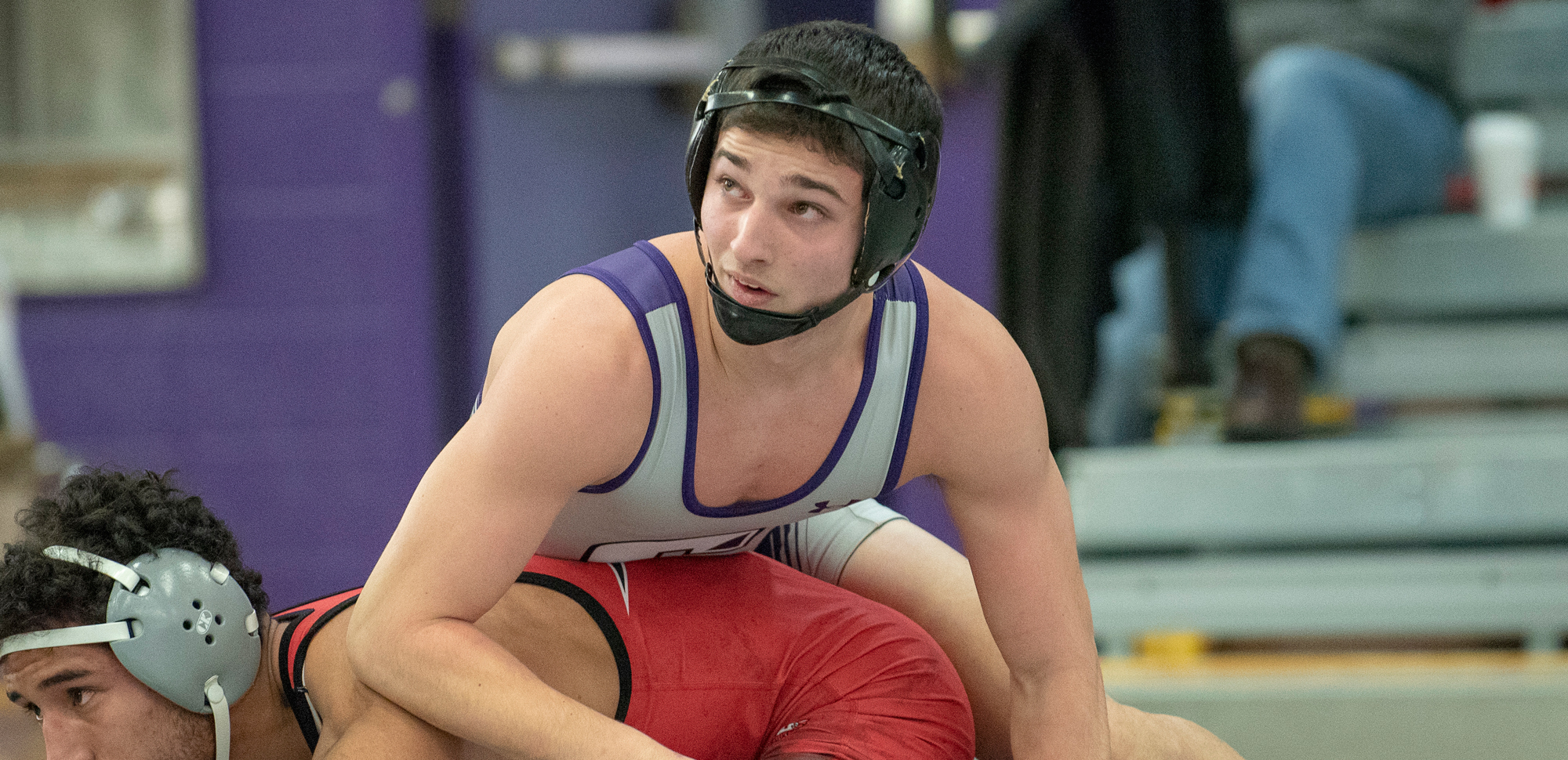 Freshman Anthony Clarizio won for the 16th time on the year via pinfall in a win over King's on Friday night. © Photo by Timothy R. Dougherty / doubleeaglephotography.com