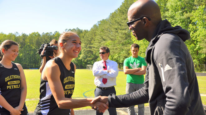 UK's Sky Sports Films Edwin Moses with Oglethorpe Track Athletes