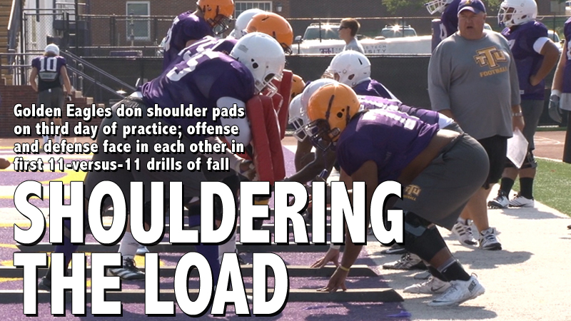 Camp Notebook: Day three features shoulder pads, full offense versus defense drills