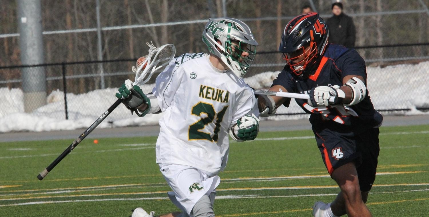 Dan Blaessig (21) scored a pair of goals for Keuka College on Saturday