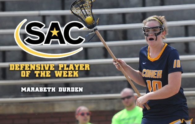 Coker's Durden Named SAC Women's Lacrosse Defensive Player of the Week