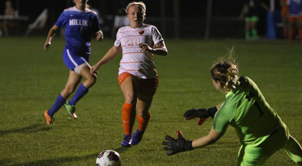 Women's soccer nipped 2-1 by Millikin