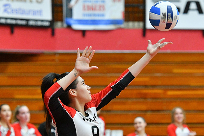 Aixa Vigil led Polk State with 26 kills as the Eagles won twice to improve to 13-0. (Photo by Tom Hagerty, Polk State.)