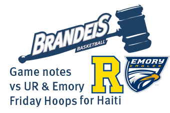 Brandeis basketball game notes and announcements, Rochester and Emory