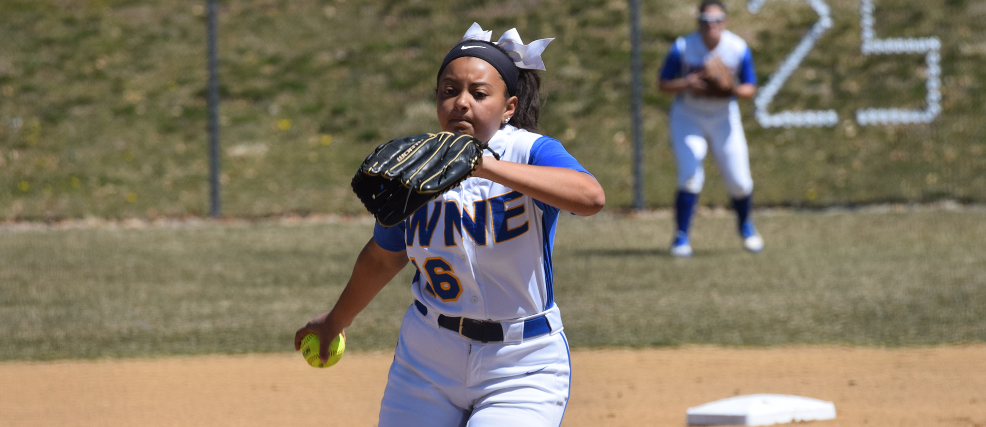 Sophomore Paige Uliase struck out seven batters and allowed one run over eight innings as Western New England rallied to earn a pivotal 2-1 victory over Endicott in the CCC Tournament on Friday in Beverly. (Photo by Rachael Margossian)