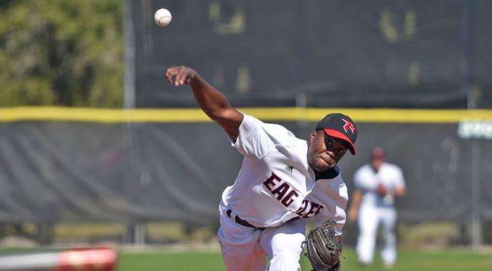 Shameko Smith got the win as the Eagles beat Florida Southwestern 7-1. In six innings, he allowed two hits and struck out eight. (Photo by Tom Hagerty, Polk State.)
