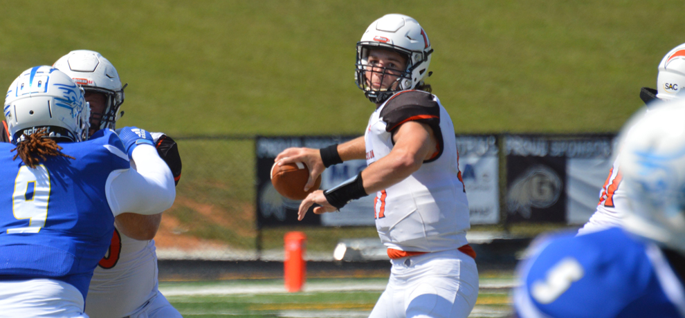 Bryce Moore passed for 287 yards and 3 TDs in Tusculum's 38-10 win at Limestone (photo by Dom Donnelly)