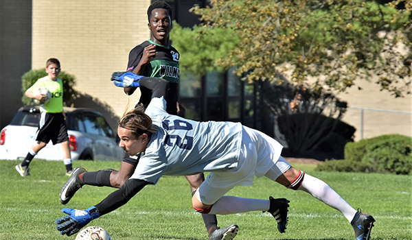 Copyright 2017; Wilmington University. All rights reserved. Photo of Abdul Mansaray scoring his first goal against Nyack, taken by James Jones.