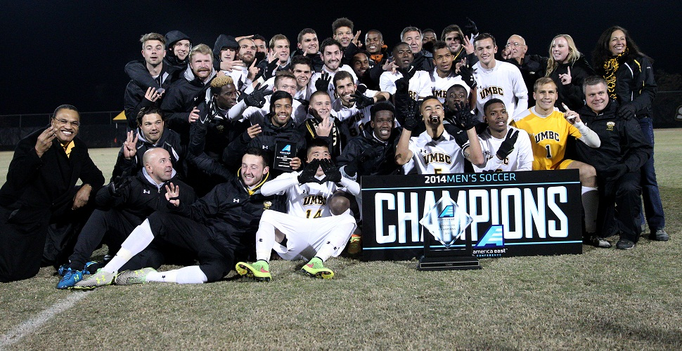Men's Soccer Wins Third Consecutive America East Title; Retrievers Rally to Edge Hartford, 2-1