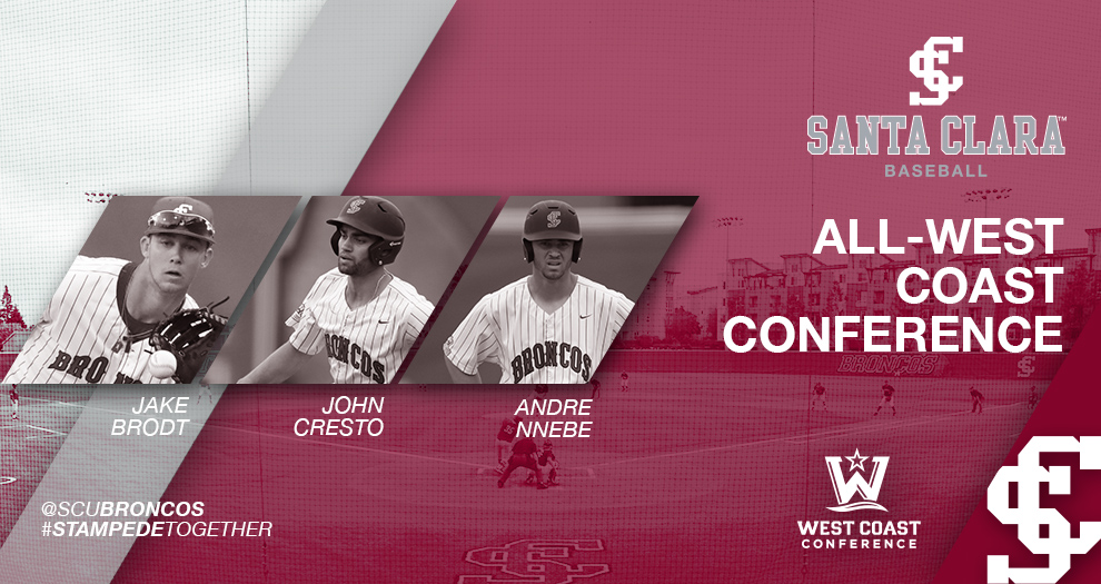 Three Baseball Players Garner All-WCC Accolades