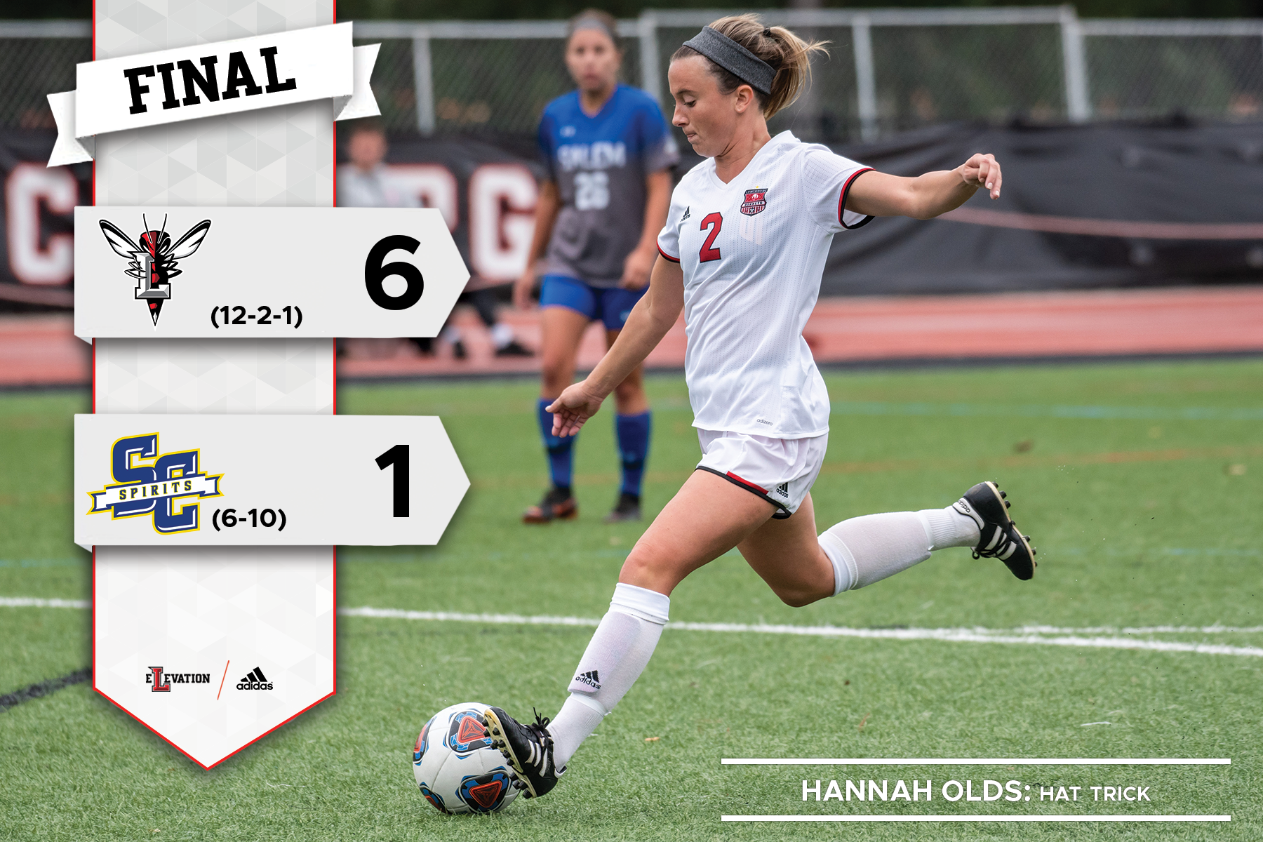 Hannah Olds kicking a soccer ball. Graphic showing 6-1 final score.