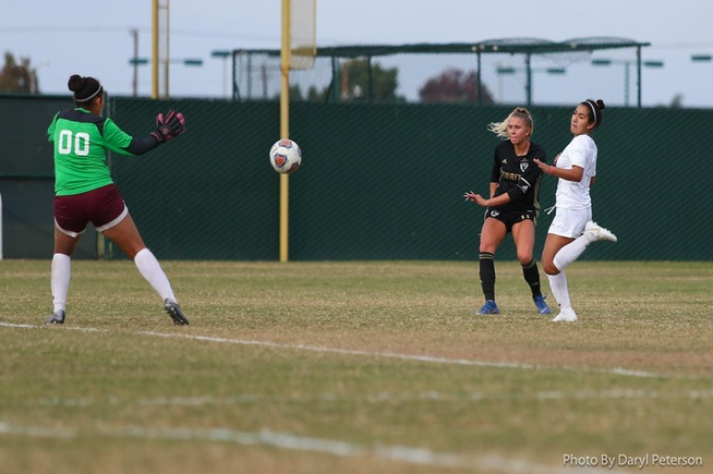 Serena Camacho scores to give the Falcons a 2-0 lead in the first half against Antelope Valley