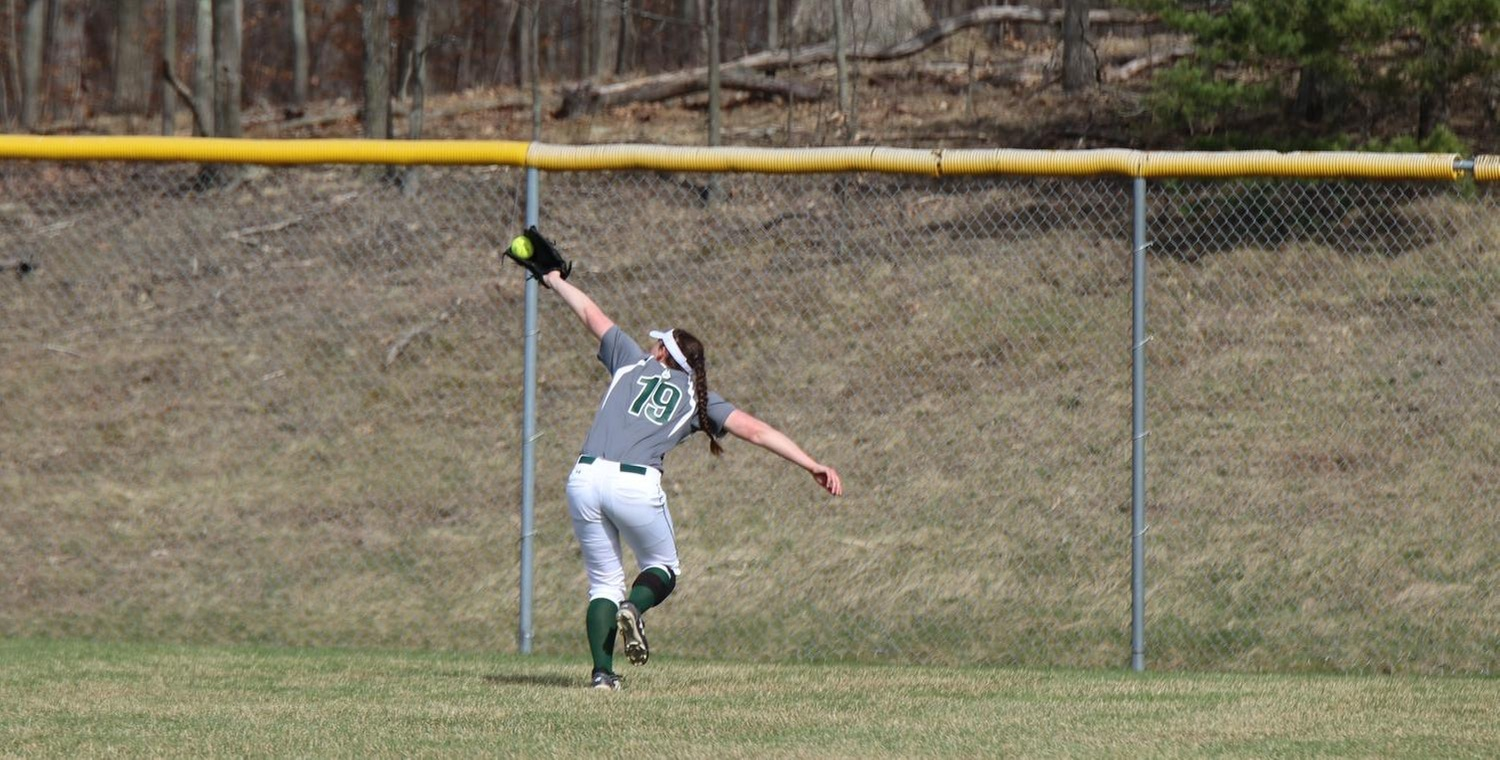 Janessa Vaadi (19) with the outfield catch for Keuka in game two -- Photo by Courtney Gleichauf