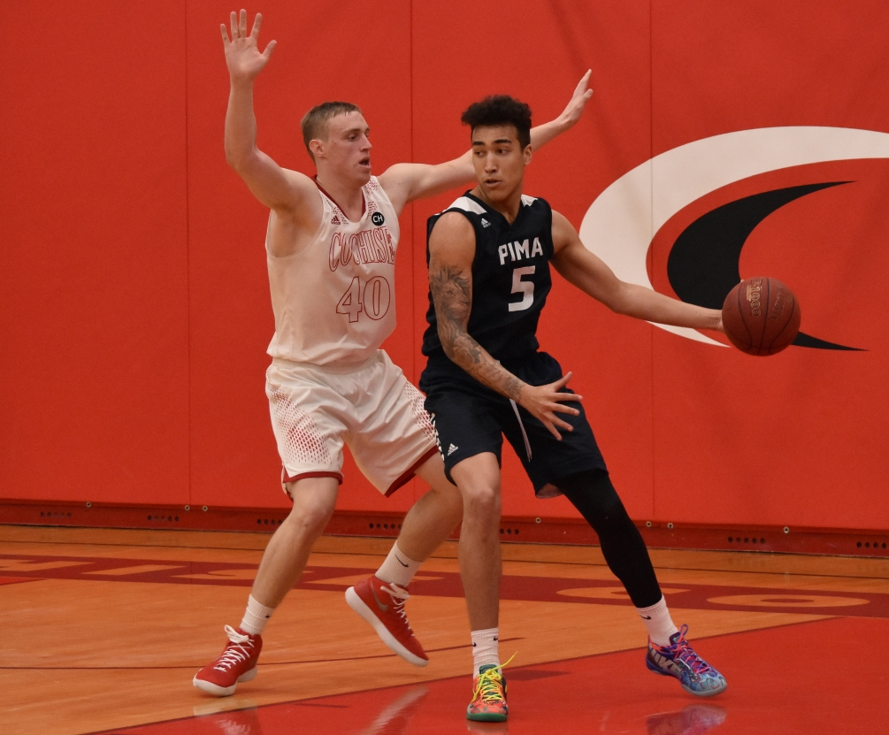 Sophomore Justin Bessard had a double-double of 21 points and 11 rebounds but the Aztecs had their 10-game winning streak snapped as they fell 87-77 to Phoenix College. The Aztecs are 24-3 overall and 16-3 in ACCAC conference play. Photo by Ben Carbajal