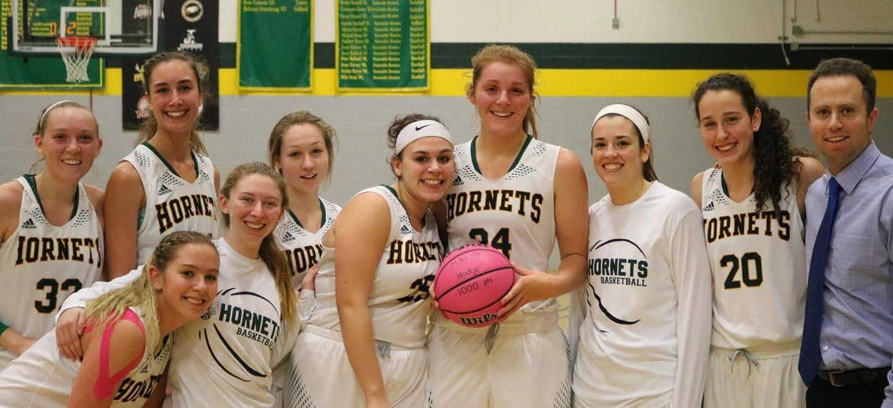 Mikayla Hodge scores her 1,000th point as Hornet women overwhelm Vermont Tech