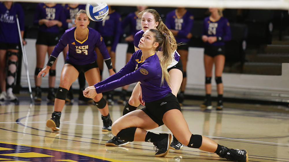 Verzani, middle blockers help Tech rally to a four-set victory over Austin Peay