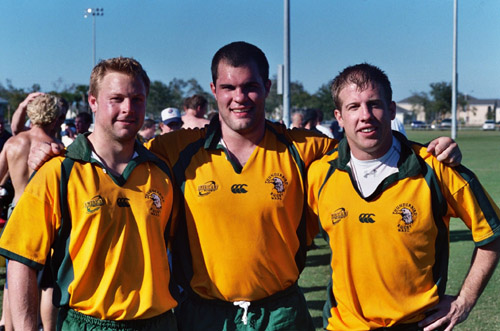 Josh Cocking '03 (left), Dave Bleitner '05 (middle), and Dave Fee '00 at the U.S. Territorial Tournament representing the Midwest Men's All-Star Team
