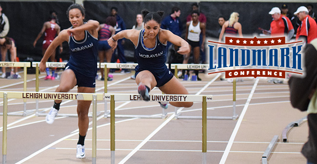 Melissa Cheong '18 and Amari Schooler '19 competed in the 60-meter hurdles at the Lehigh University Opener in December 2016.