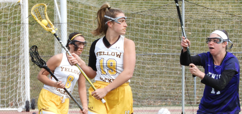 Senior attack Caitlin Wheeler scored her 100th career goal against Muskingum (Photo courtesy of Lori Moran)
