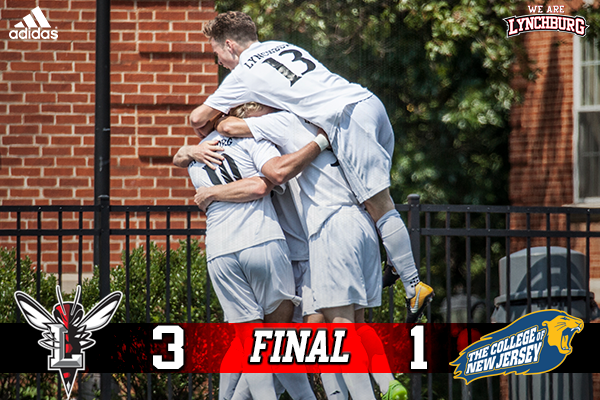 Lynchburg celebrates a 3-1 victory over TCNJ.