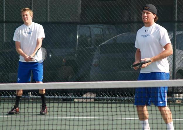 Isch (left) and Rosenfeld (right) battled back from a 3-0 hole to take No.1 doubles, 8-3