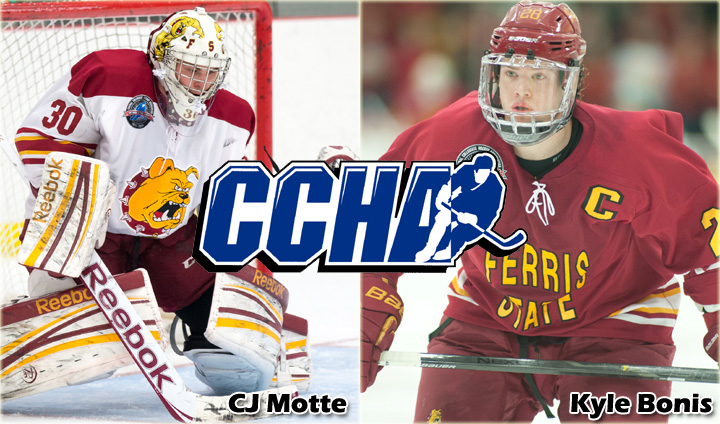 Ferris State's Bonis & Motte Attain All-CCHA Honorable Mention Honors