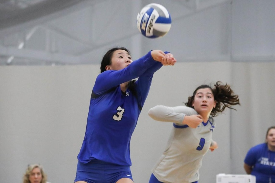 Samantha Hoang finished with a career-high 30 of Wellesley's 78 digs (Miranda Yang).