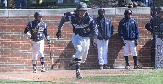 Ian Csencsits '20 heads towards first base in a game versus The Catholic University of America at Gillespie Field.