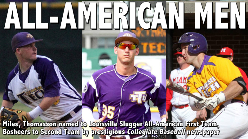 Bosheers, Miles, and Thomasson named All-Americans by Collegiate Baseball newspaper