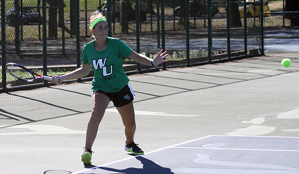 Copyright 2017; Wilmington University. All rights reserved. File photo of Begona Gomar who won at number two singles and number one singles against UDC.