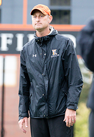 Bryan Goyings coaching soccer at Kalamazoo College.