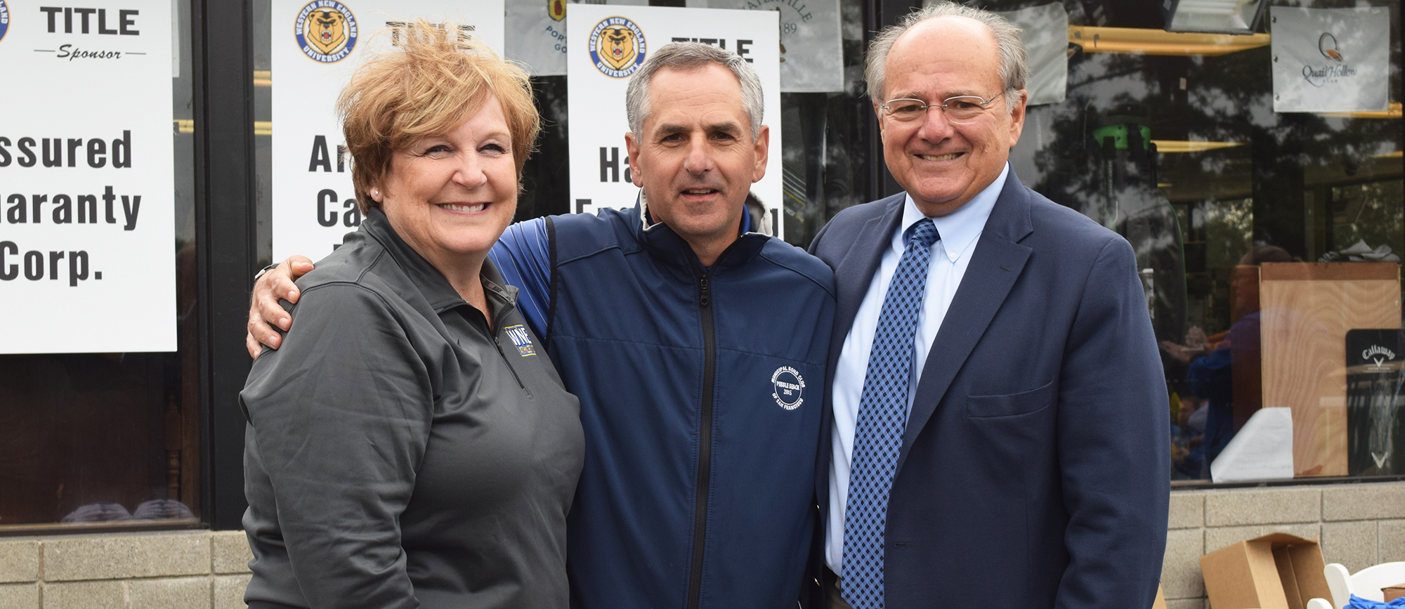 University trustee and former Golden Bear baseball player Richard Cassata '80 (middle) was recognized as the Guest of Honor on Monday at Western New England's 20th Annual Golf Classic. Cassata is pictured here along with Athletics Direct Report Dr. Sharianne Walker (left) and University President Dr. Anthony S. Caprio (right).