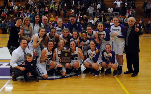 The Lady Royals celebrate their fourth Landmark Conference Championship in program history on Saturday afternoon in the Long Center, moving to 27-0 on the year with a 78-57 win over Catholic.