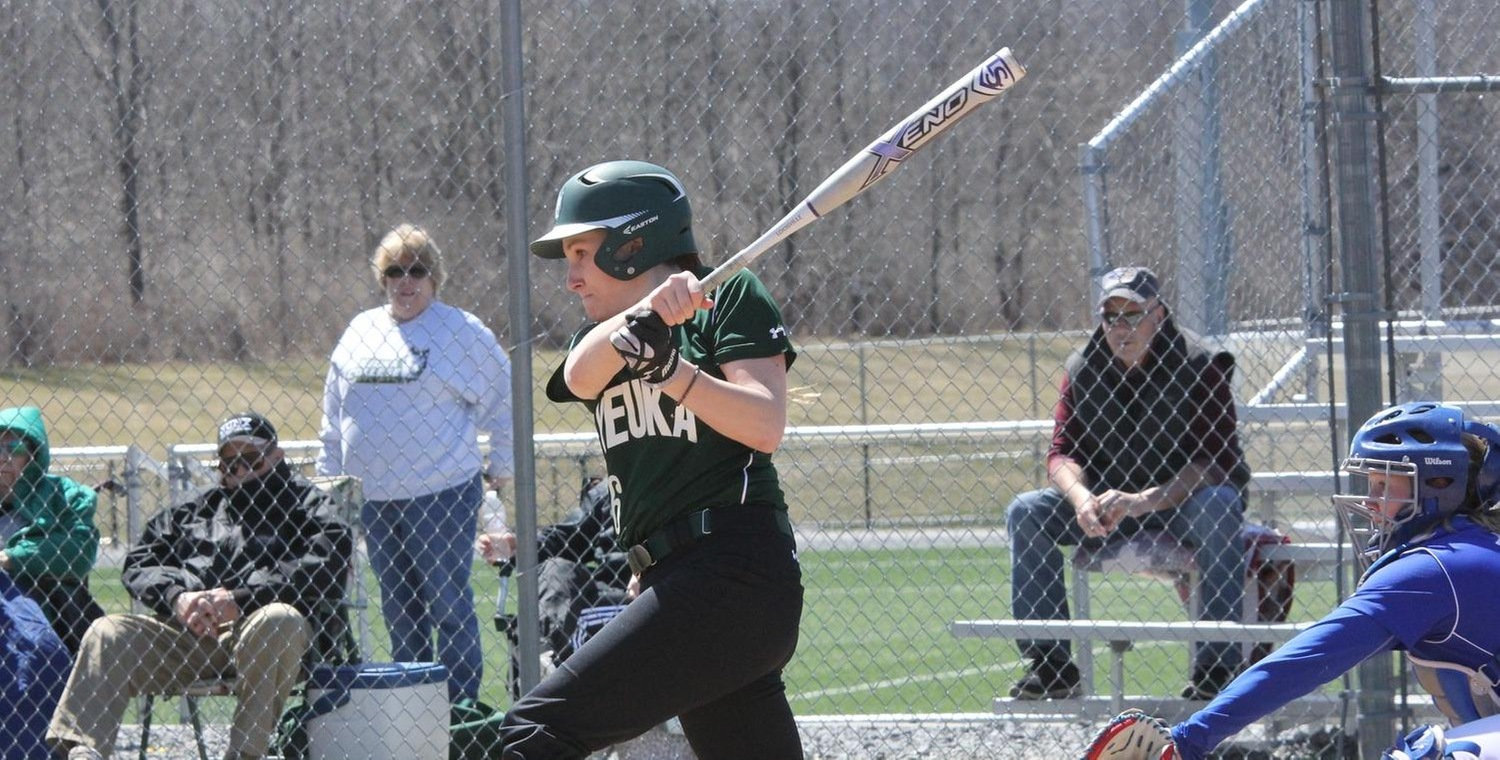Alexa Brown (16) had a combined five hits and three RBIs for Keuka College on Friday