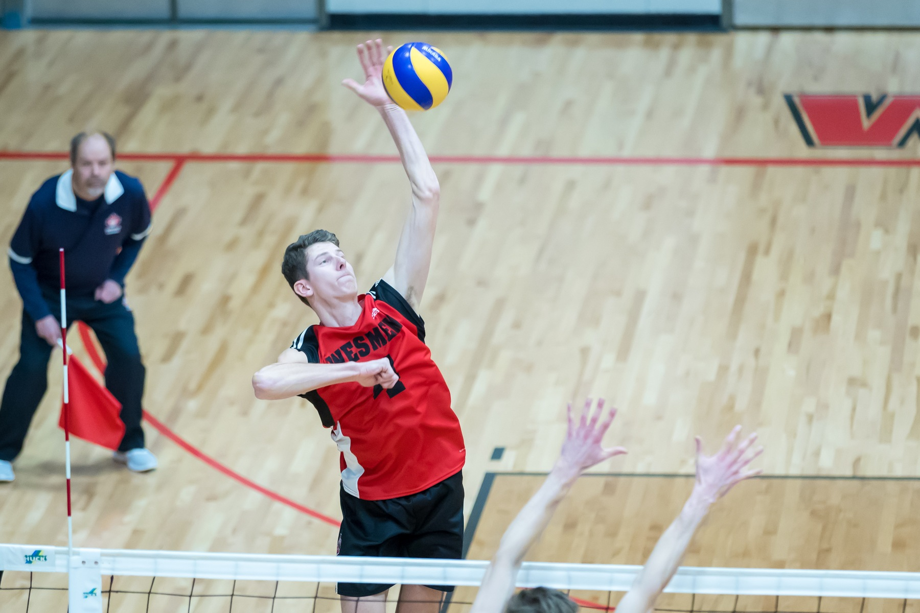 Daniel Thiessen had a match-high 11 kills to lead the Winnipeg Wesmen past the Dalhousie Tigers Monday in Halifax. (Kelly Morton/Wesmen Athletics file)