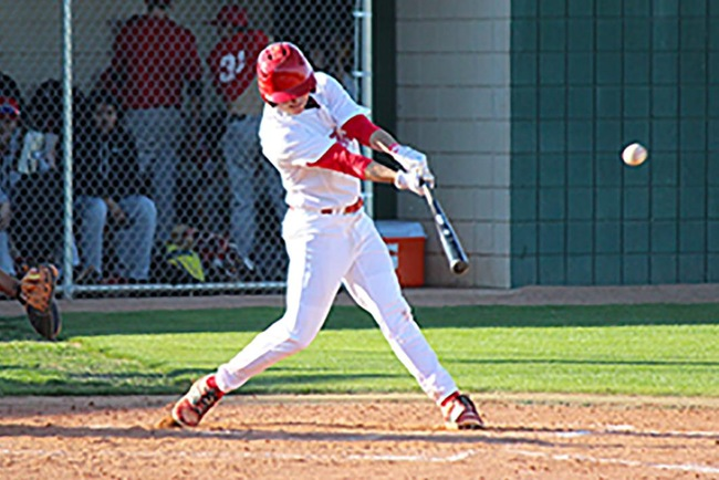 Drew Bailey hits a double to right field to score one of Mesa's six run's on the afternoon. (photo by Aaron Webster)