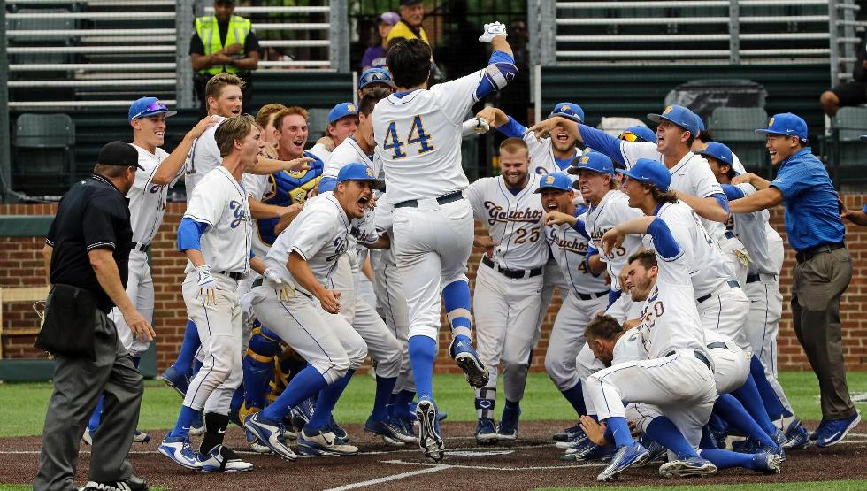 Austin Bush hit a 14th inning walk-off home run to give UCSB a 3-2 win its Regional Opener against Washington (photo by Mark Humphrey)