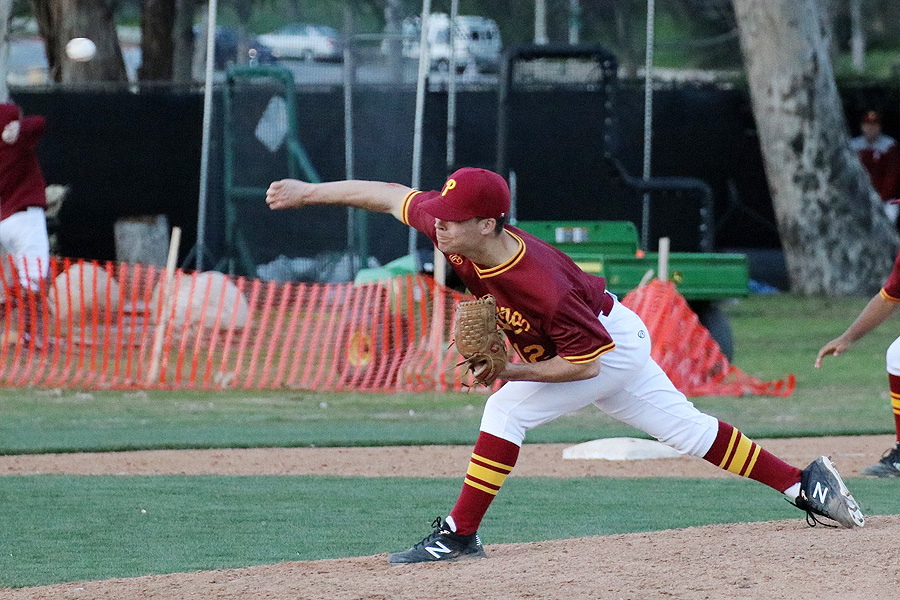 Lorenzo Llorens fires a pitch during PCC's win over Oxnard on Tuesday, photo by Richard Quinton.