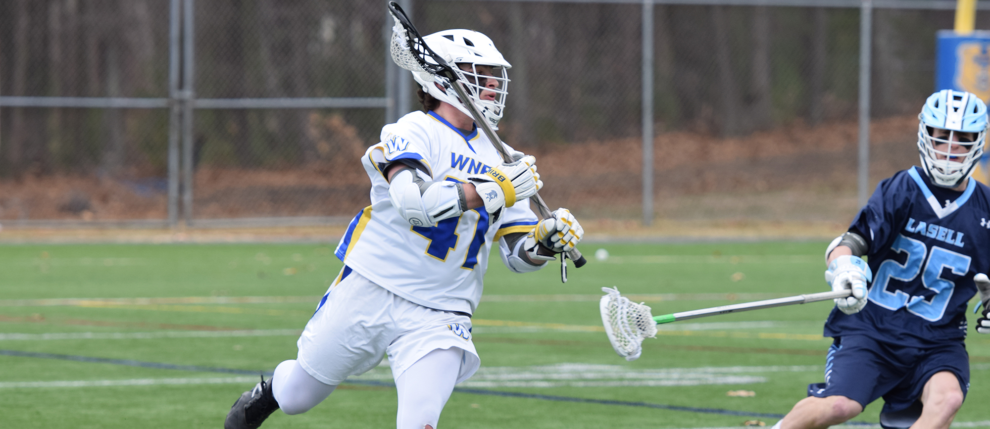 Sophomore Brendan Lyons scored a career-high five goals in Western New England's 16-6 win over Lasell on Saturday. (Photo by Courtney Carlson)