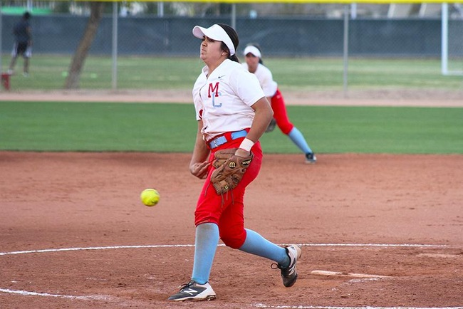 Sammy Quezada earned a win in game two Tuesday afternoon against Phoenix College.  She also had two RBI's at the plate for the T-Birds. (Photo by Aaron Webster)