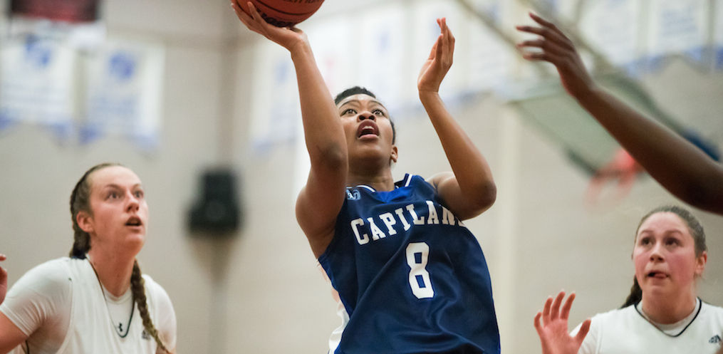 Fifth-year Francis Penafiel was named Player of the Game for Capilano in her final game with the Blues. Photo courtesy the CCAA.