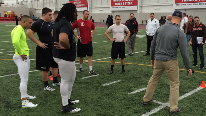 YSU players perform before NFL Scouts at Pro Day
