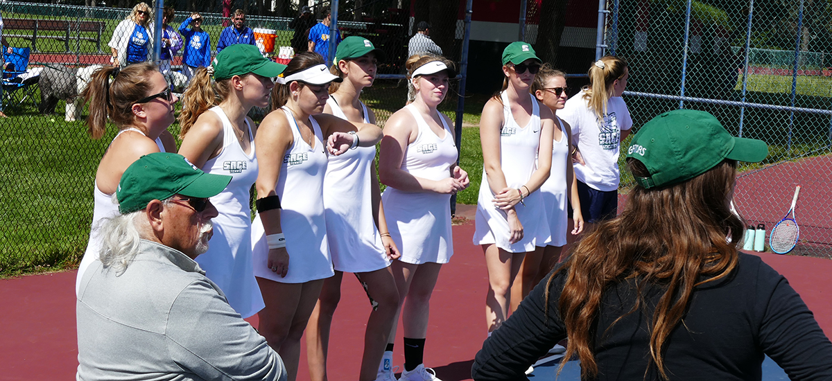 Sage Women's Tennis Team Earns E8 Tournament berth, despite loss to SJFC