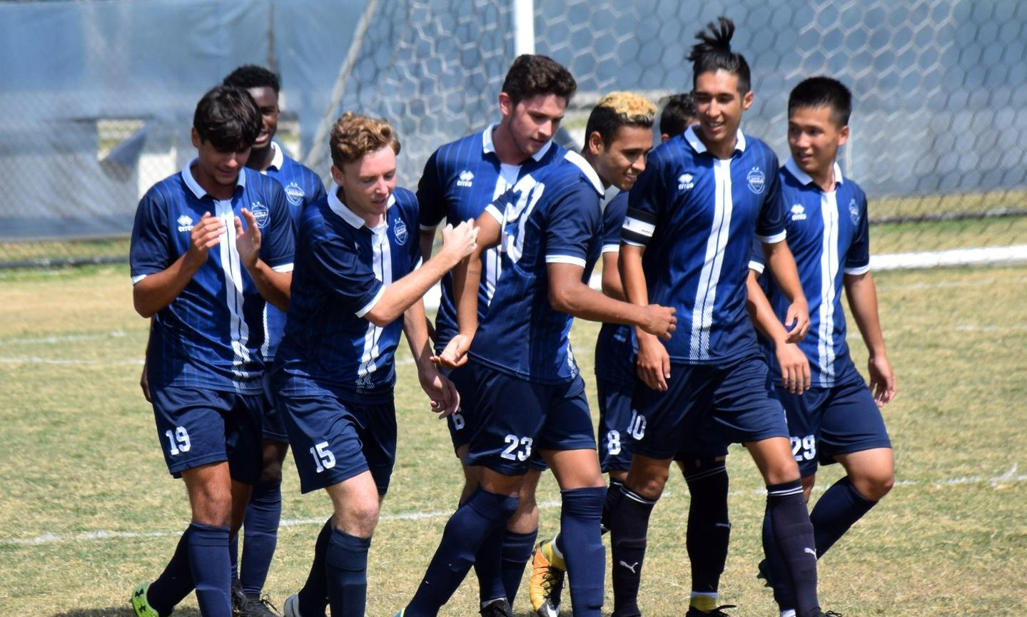 Men's soccer team rolls in 7-0 conference win at Cypress