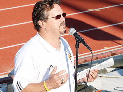 "Head Coach Jeff Pierce speaks to the crowd at last year's ""Freshman Picnic"" (Photo courtesy Big Rapids Pioneer)"