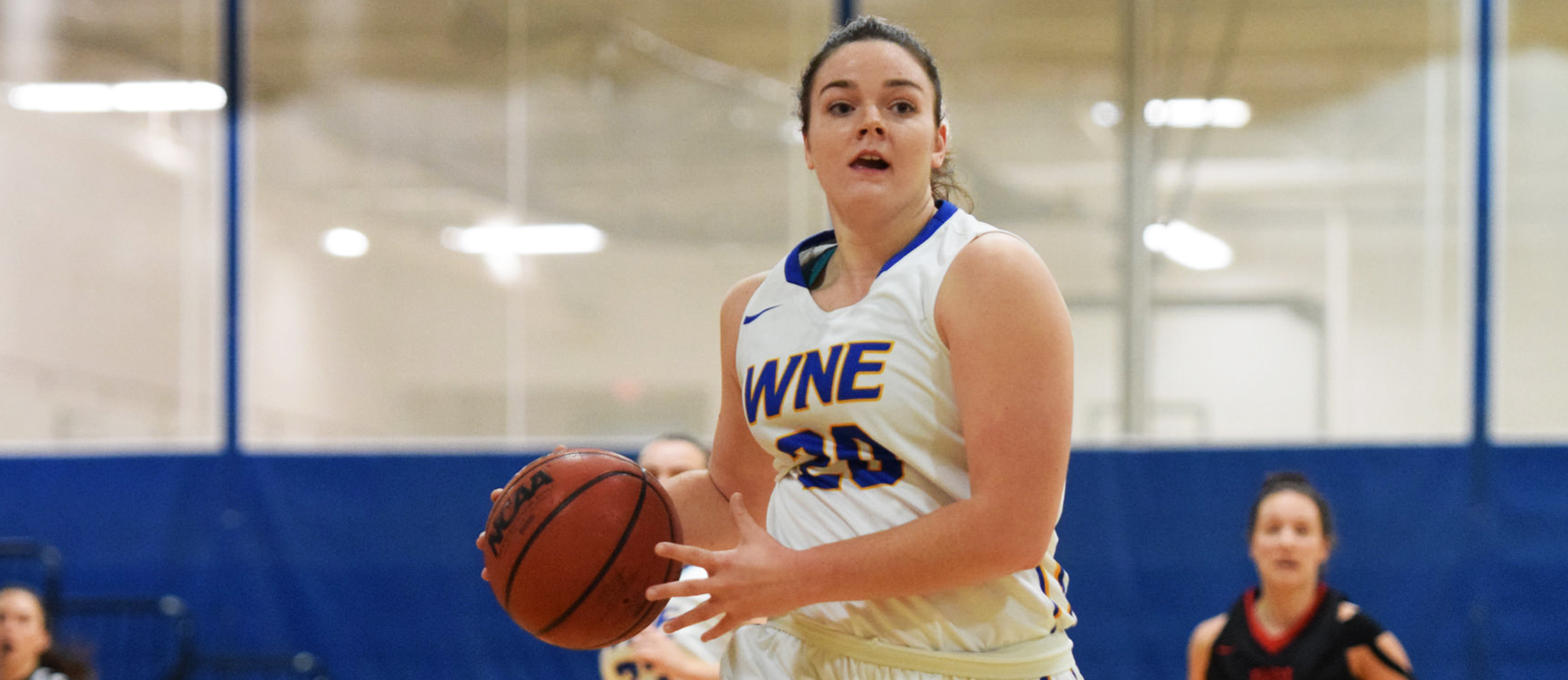 Sophomore Emily Scurka scored 11 points and grabbed five rebounds in just 10 minutes off the bench in Western New England's 79-61 victory over MCLA on Saturday. (Photo by Rachael Margossian)